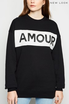 New Look Colourblock Amour Slogan Sweatshirt