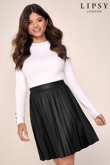 Lipsy PU Pleated Mini Skirt