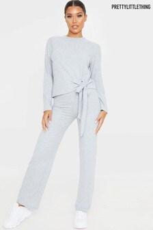 PrettyLittleThing Brushed Rib Tie Front Loungewear Set
