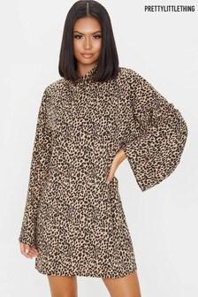 PrettyLittleThing Leopard Print Rib Roll Neck Flare Sleeve Dress
