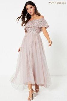 Maya Embellished Bardot Maxi Dress
