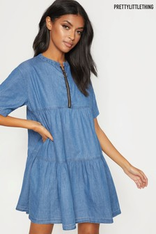 PrettyLittleThing Mid Wash Chambray Tiered Smock Dress