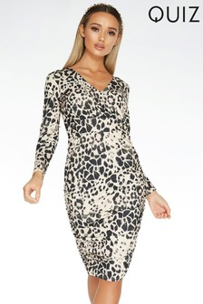 Quiz Animal Print Long Sleeve Wrap Midi Dress