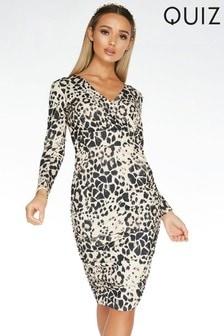 Quiz Animal Print Long Sleeve Wrap Midi Dress