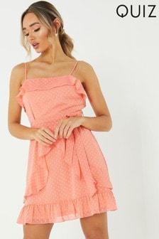 Quiz Frill Polka Dot Chiffon Dress