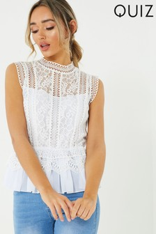 Quiz Crochet Chiffon Top