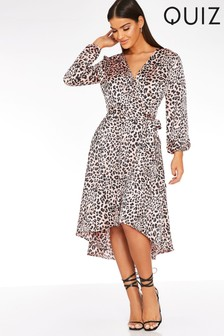 Quiz Printed Balloon Sleeves Midi Dress