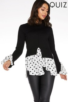 Quiz Light Knit Top With Polka Dot Trim