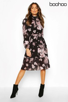 Boohoo Floral Print Ruffle Neck Midi Dress