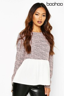 Boohoo Boucle High Neck Top