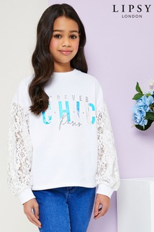 Lipsy Girl Lace Puff Sleeve Sweat