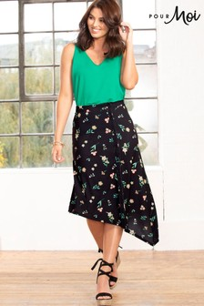 Pour Moi Slinky Jersey Asymmetric Midi Skirt
