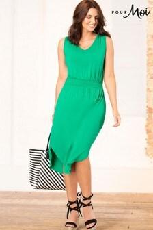 Pour Moi Shirred Waist Midi Jersey Dress