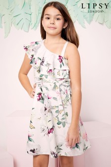Lipsy Girl Asymmetric Frill Dress
