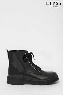 Lipsy Girl Patent Gem Lace Up Biker Boot