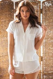 Pour Moi Spot Woven Lace Mix Revere Collar Shirt