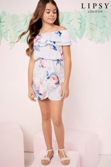Lipsy Girl Double Frill Bardot Playsuit