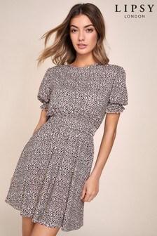 Lipsy Puff Sleeve Shirred Mini Dress