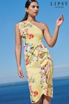 Lipsy One Shoulder Ruffle Midi Dress