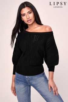 Lipsy Knitted Pointelle Slash Neck Batwing Jumper