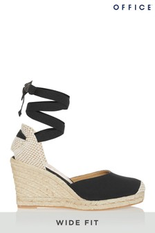 Office Wide Fit Tie Up Espadrille Wedge