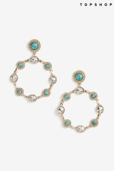 Freedom Turquoise And Crystal Stoned Hoop Earrings