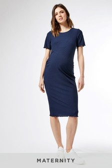 Dorothy Perkins Maternity Short Sleeve Lettuce Edge Rib Bodycon Midi  Dress