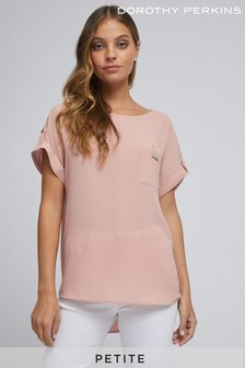 Dorothy Perkins Petite Button Pocket Roll Sleeve Tee