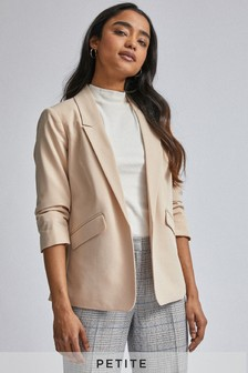 Dorothy Perkins Petite Edge To Edge Rouched Sleeves Jacket