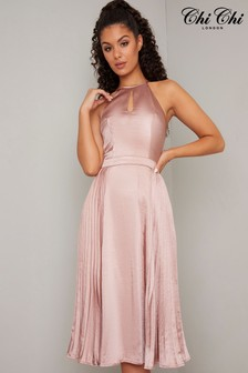 Chi Chi London Satin Pleated Midi Dress