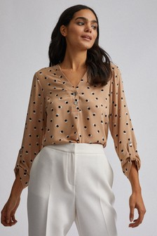 Dorothy Perkins Spot Double Button Collarless Roll Sleeve Top