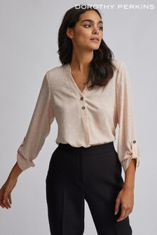 Dorothy Perkins Spot Double Button Collarless Roll Sleeve Blouse
