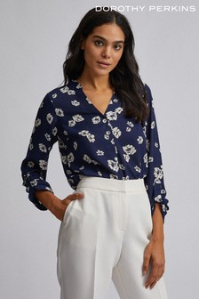 Dorothy Perkins Floral Double Button Collarless Roll Sleeve Blouse
