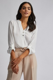 Dorothy Perkins Double Button Collarless Roll Sleeve Blouse