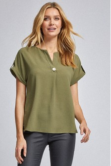 Dorothy Perkins Button Front Roll Sleeve Workwear Tee