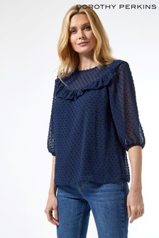 Dorothy Perkins Three Quarter Ruffle Dobby Top
