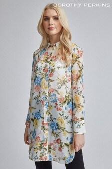 Dorothy Perkins Floral Long Line Chiffon Shirt