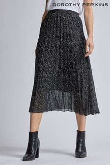 Dorothy Perkins Squiggle Print Pleat Midi Skirt