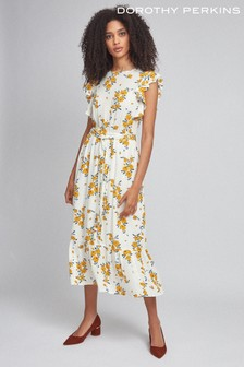 Dorothy Perkins Floral Crinkle Ruffle Sleeve Dress