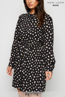 New Look Petite Spot Drawstring Mini Shirt Dress