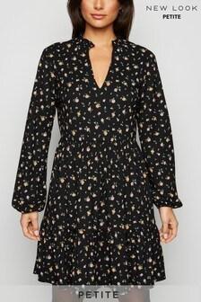 New Look Petite Ditsy Floral Mini Smock Dress