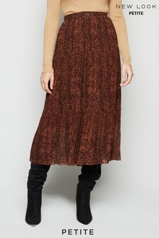 New Look Petite Rust Leopard Print Pleated Midi Skirt