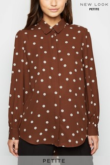 New Look Petite Spot Dip Hem Long Sleeve Shirt