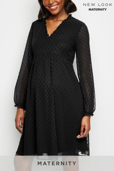 New Look Maternity Elasticated Dobby V neck Smock Dress
