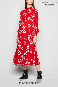 New Look Maternity Floral High Neck Midi Dress