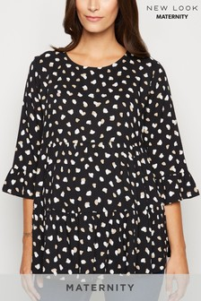New Look Maternity Nelly Spot Smock Peplum Blouse