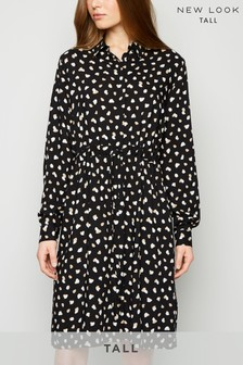 New Look Tall Abstract Spot Drawstring Waist Dress