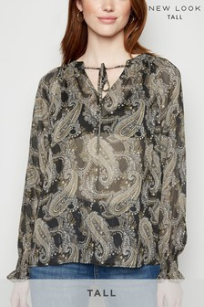 New Look Tall Paisley Print Mesh Blouse