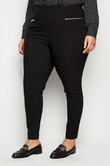 New Look Curve Two Zip Bengaline Trouser