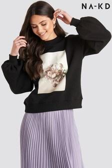NA-KD Printed Puff Sleeve Sweater